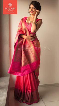 Beautiful pink color saree from Milan Indian Silk Sarees, Soft Silk Sarees, Trendy Sarees, Stylish Sarees, Indian Dresses, Indian Outfits, Kanjivaram Sarees, Saree Look, Elegant Saree