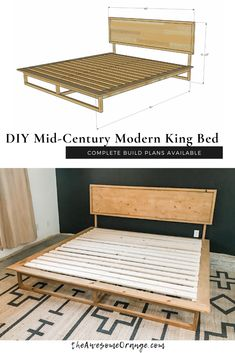 DIY Mid-Century Modern King Bed, complete build plans available from theAwesomeOrange.com #diy #kingbed #mcmfurniture #buildplans #bed Diy Furniture Building, Mcm Furniture, Diy Furniture Plans, Diy Furniture Projects, Woodworking Projects Diy, Handmade Furniture, Woodworking Plans, Bedroom Furniture, Diy Projects