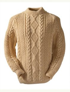 Mc Donnell Aran Knitting Patterns, Cable Knitting, Knit Patterns, Hand Knitting, Hand Knitted Sweaters, Wool Sweaters, Irish Sweaters, Men Sweater, Crewneck Sweater