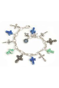 The cross has always held a special place in our lives by offering peace, comfort and inspiration; and serves as a constant reminder of the risen Christ!  This cross charm bracelet is made with interlocking silver-tone links. Crosses of all shapes, sizes, and colors can be found connected to the silver-tone chain. The blue crosses are howlite lapis The green crosses are jade Pewter with silver tone crosses with crystals