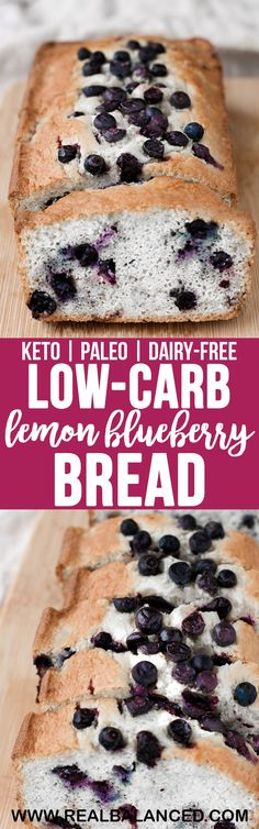 Low-Carb Lemon Blueberry Bread | Real Balanced