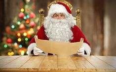 Download wallpapers Santa Claus, letters, Christmas, New Year, Christmas tree