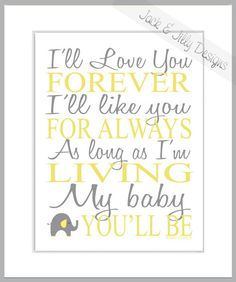 I'LL LOVE You FOREVER  - 8x10 print -  You Choose the Custom Colours  - Nursery Art - Mother's Day Gift - Grandma - Robert Munsch on Etsy, $11.39