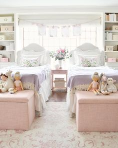 The girls realized that if they take the tops of these Lulu & Geor Shared Girls Room Dreams Geor girls Lulu realized Sweet tops Kid Room Decor, Twin Girl Bedrooms, Bedroom Design, Shared Girls Bedroom, Girls Bedroom, Little Girl Rooms, Bedroom Decor, Shared Girls Room, Childrens Bedrooms