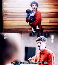 Nathan stealing a baby hahaha simon's face!