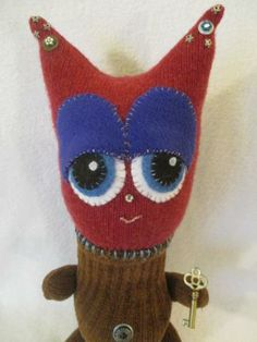 Miss Violet, A handmade art doll, plush toy by creaturesnorthwest #supportsmallbusiness #creatures #monsters #Zibbet