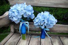 Paryskie klimaty - pracownia : Bukiety ślubne z niebieskich hortensji * Pracownia paryskie klimaty