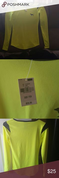 Nwt PINK Ultimate Neon Yellow Top Brand new with tags. Neon Yellow and black.  Pink Ultimate Sports Athletic Longsleeve Top w/ Thumbholes Size XS. PINK Victoria's Secret Tops Tees - Long Sleeve