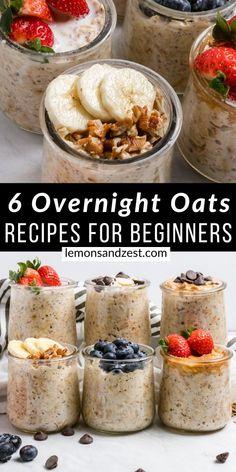 Low Calorie Overnight Oats, Best Overnight Oats Recipe, Overnight Oats With Yogurt, Easy Overnight Oats, Best Oats Recipe, Dairy Free Overnight Oats, Overnight Breakfast, Quick Oat Recipes, Oats Recipes
