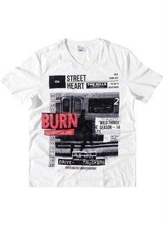 Camiseta Decote V Mangas Curtas Branco Wee! - Posthaus