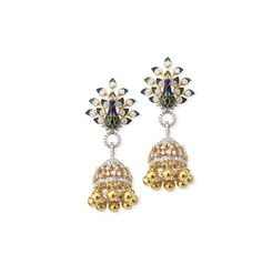 peacock shaped earrings Jhumka by Jet Gems
