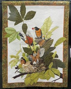 Audubon's American Robin by Marilyn Craig.  Photo by Cathy Geier's Quilty Art Blog: 2014 Shipshewana Quilt Festival II