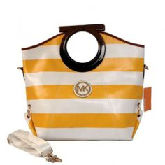 Michael Kors Striped Large Yellow Clutches
