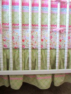 Closeup - Jill McDonald Lullaby Breeze crib bedding