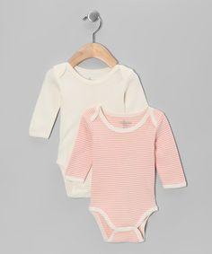 Peach & Ivory Stripe Organic Bodysuit Set - Infant by Tadpoles #zulily #zulilyfinds