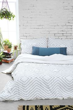 Plum & Bow Meghan Ruched Duvet Cover - Urban Outfitters use as the actual bedding, quilt thrown on the bottom/ side