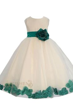 White satin and organza skirt with different color sash ,flower at front and bowknot at back,knee length is also available.please search am224 to see all colors. Neckline:O-neck Length:Floor length De