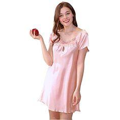 3e7a67c9588 BOLAWOO Femme Chemise De Nuit Eté Court Casual Satin Mode Vêtement De Nuit  Mode Chic Robe Uni Manche Manches Courtes V-Cou Dentelle Épissure Robes  Pyjamas ...