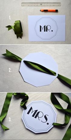 Wedding DIY Project DIY Mr and Mrs Signs but with chair bow tulle and brooch stuck on sign