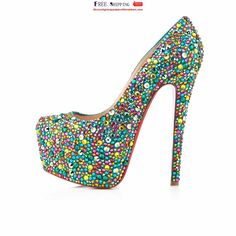 Comfortable Christian Louboutin Boubou 160mm Platforms Blue/Pink Red Sole Shoes #prom