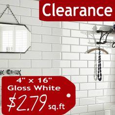 White Gloss Subway Tile 4 X 16 Metro Collection