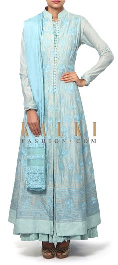 Buy Online from the link below. We ship worldwide (Free Shipping over US$100). Product SKU - 311301.Product Link - http://www.kalkifashion.com/anarkali-suit-in-blue-embellished-in-resham-embroidery-only-on-kalki.html
