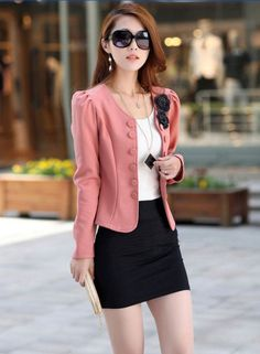 Fashion OL Lady Women Blazer Double Breasted Puff Sleeve Jacket Bow Tie Back Coat Pink