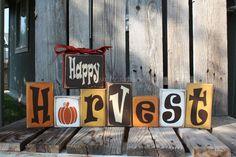 fall wood crafts | Fall Autumn Thanksgiving HAPPY HARVEST Wood Block Set Primitive Fall ...