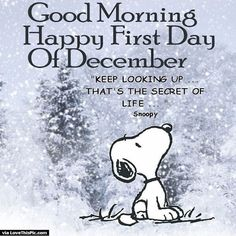 Good Morning Happy First Day Of December Snoopy Quote