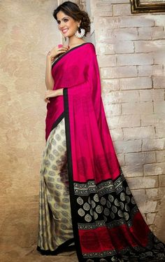 Picture of Classy Cream and Deep Pink Color Printed Saree