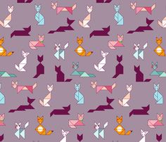Tangram Cats fabric by digidivagraphics on Spoonflower - custom fabric