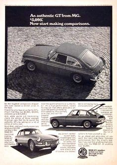 1967 MGB GT original vintage advertisement. Photographed in black & white. Features dual carb, 4-speed, spoke wheels and disc brakes. Original MSRP started at $3,095.