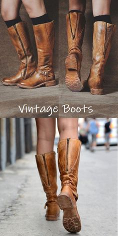 For several years, vintage fashion boasted artifacts from the mini-dresses and knee high boots. Then it was the vintage fashions of afro hair styles and bell bottom pants along with wedge heels and flowing disco tops. Fashion Moda, Look Fashion, Fashion Shoes, Breaking In Shoes, Buy Shoes Online, Cute Boots, Vintage Boots, How To Make Shoes, Artificial Leather