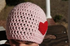 VALENTINES DAY Crochet Pink Beanie Hat with Red by ToniDStudio