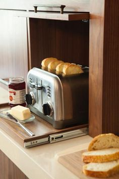 Small Kitchen Options: Get Inspired! What clever kitchen idea – Kitchens Forum – GardenWeb I would like a large one for all small appliances! Clever Kitchen Ideas, Smart Kitchen, Kitchen Pantry, New Kitchen, Kitchen Dining, Kitchen Cabinets, Cupboards, Clever Diy, Clever Kitchen Storage
