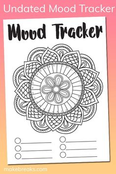 Free Undated Mandala Mood Tracker Tracking Page – Make Breaks – Bullet journal Bullet Journal Tracker, Bullet Journal Printables, Bullet Journal Mood, Bullet Journal Ideas Pages, Journal Pages, Bullet Journals, Free Planner, Planner Pages, Printable Planner