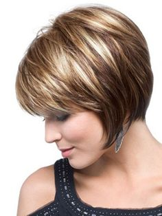 mom likes highlights. Cute short layered bob hairstyles for thick hair Best and Beautiful Short Layered Hairstyles
