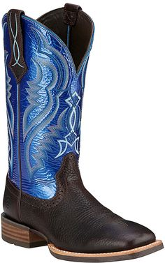 Ariat Men's Fast Time Coffee Cowboy with Blue Hurricane Top Double Welt Square Toe Western Boots   Cavender's