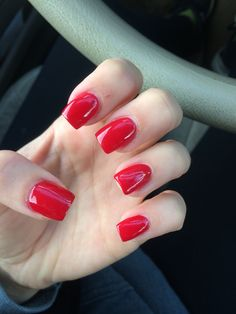 Red, long, square acrylic nails