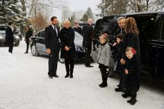 MYROYALS &HOLLYWOOD FASHİON: The Norwegian Royal Family attended the funeral of Norwegian journalist Anbjørg Sætre Håtun-l-r-Crown Prince Haakon, Crown Princess Mette-Marit, Leah, Maud and Emma Behn (Anbjørg was Emma's godmother), Ari Behn, and Princess Märtha Louise.