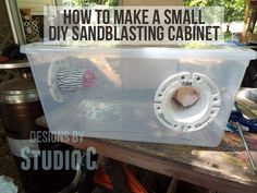 Make a Small Sandblasting Cabinet for the Air Eraser - Protect yourself from breathing in the dust while etching glass!