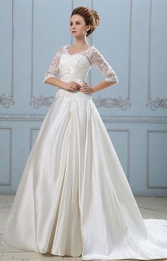 Solid Applique Lacework V Neck Half Sleeve Back Zipper Court Train Satin A-Line Wedding Dress    look more in  our link  http://fashioncentris.com
