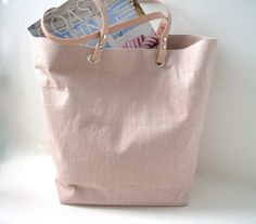 Beach Bag,  Linen Tote Bag, Blush Linen with Nude/Natural Leather Handles. $104.00, via Etsy.