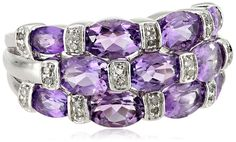 Sterling Silver Amethyst and Diamond (1/10cttw, I-J Color, I3 Clarity) Ring, Size 7 ** For more information, visit now : Jewelry Rings