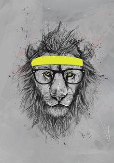 "Trademark Fine Art ""Hipster Lion"" Canvas Art by Balazs Solti Art Mural, Art Hipster, Hipster Stuff, Girly Stuff, Fun Stuff, Random Stuff, Graffiti, Iphone 7, Animals"