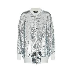 Love Moschino Sequin Bomber (5.648.110 IDR) ❤ liked on Polyvore featuring outerwear, jackets, silver, love moschino, flight bomber jacket, blouson jacket, white bomber jacket and white jacket