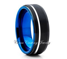 Tungsten Ring Mens Blue Brushed Tungsten Ring Tungsten Carbide Ring Engagement…