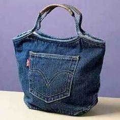 выкройка сумки из джинсов - фото