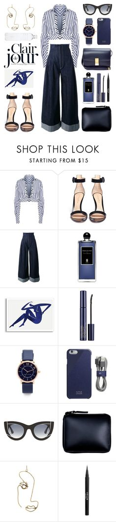 """Unbenannt #1028"" by fashionlandscape ❤ liked on Polyvore featuring Johanna Ortiz, Gianvito Rossi, Jacquemus, Serge Lutens, Estée Lauder, Marc Jacobs, Native Union, Thierry Lasry, Comme des Garçons and Rosie Assoulin"