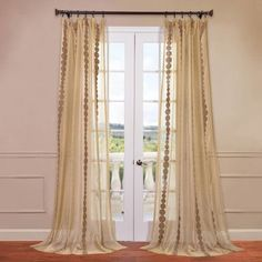 """Half Price Drapes Cleopatra Embroidered Sheer Single Curtain Panel Size: 50"""" W x 120"""" L"""